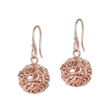 Sterling Silver & Rose Vermeil Wild Rose Sphere Drop Earrings
