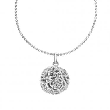 Sterling Silver Wild Rose Ball Pendant