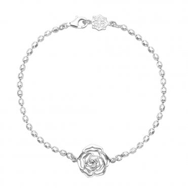 Dower & Hall Sterling Silver Wild Rose Bracelet On Dotty Chain