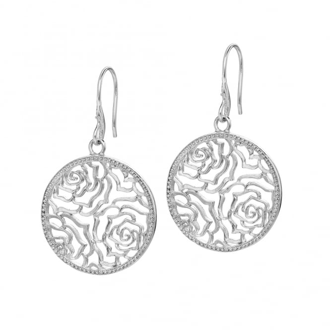 Dower & Hall Sterling Silver Wild Rose Disc Drop Earrings