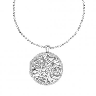 Sterling Silver Wild Rose Locket Pendant