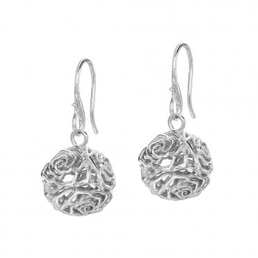 Sterling Silver Wild Rose Sphere Drop Earrings