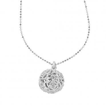 Sterling Silver Wild Rose Sphere Pendant