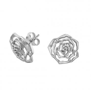 Sterling Silver Wild Rose Stud Earrings