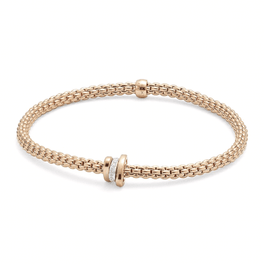 18ct Rose Gold Prima Flex It Bracelet With One Diamond Set And Two Plain Rondels