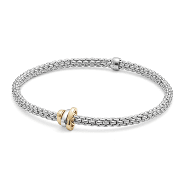 18ct White Gold Prima Flex It Bracelet With 18ct Yellow, White & Rose Gold Plain Rondels