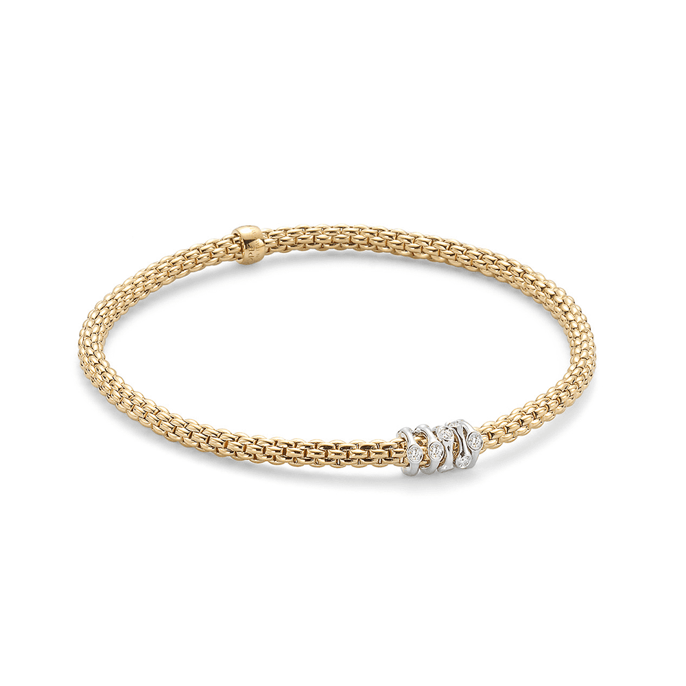 b5ab141ee41f8 18ct Yellow Gold Flex'it Prima Bracelet With Speckled Diamond Rondels