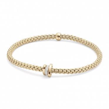 18ct Yellow Gold Prima Flex It Bracelet With One Diamond Set And Two Plain Rondels