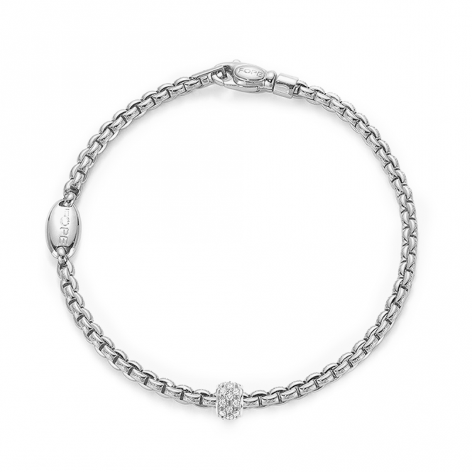 Fope EKA 18ct White Gold Slim Bracelet with 18ct White Gold Diamond Set Rondel