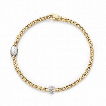 EKA 18ct Yellow Gold Slim Bracelet with 18ct White Gold Diamond Set Rondel
