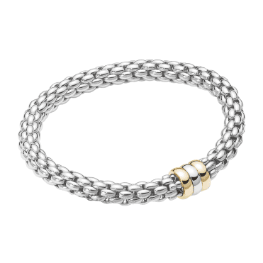 Flex It 18ct White Gold Eka Bracelet with White Gold, Rose Gold and Yellow Gold Rondels