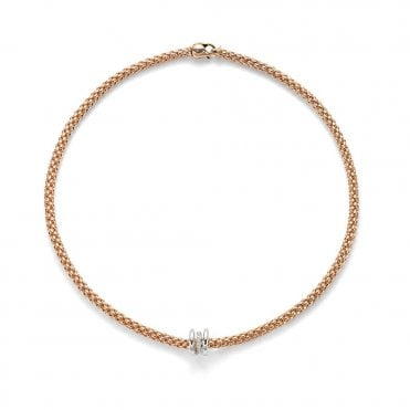 Flex it Solo 18ct Rose Gold Necklet with 18ct White Gold Plain And Diamond Pave Set Rondels