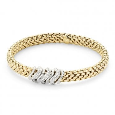 Flex-It Vendome 18ct Yellow Gold Diamond Set Rondels Bracelet