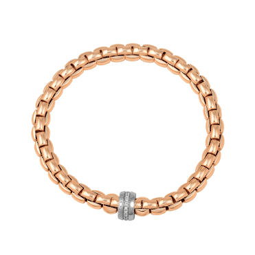 Flex'it Eka 18ct Rose Gold Bracelet With White Gold Diamond Set Rondel