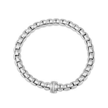 Flex'it Eka 18ct White Gold Bracelet With Diamond Set Rondel