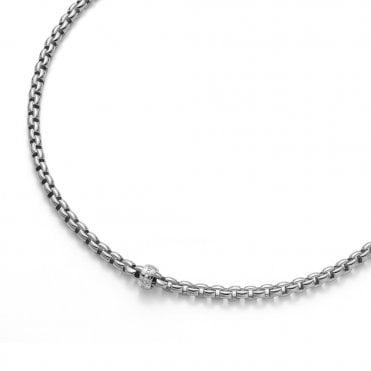 Fope Flex'it Eka 18ct White Gold Necklace With 18ct White Gold Diamond Set Rondel