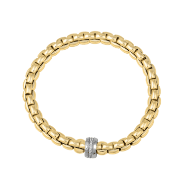 Flex'it Eka 18ct Yellow Gold Bracelet With 18ct White Gold Diamond Set Rondel