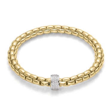 Flex'it Eka 18ct Yellow Gold Bracelet With White Gold Diamond Set Rondel