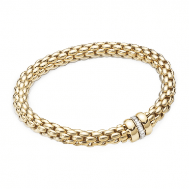 Flex'it Nuie 18ct Yellow Gold Bracelet With Yellow Gold Plain & White Gold Diamond Set Rondels