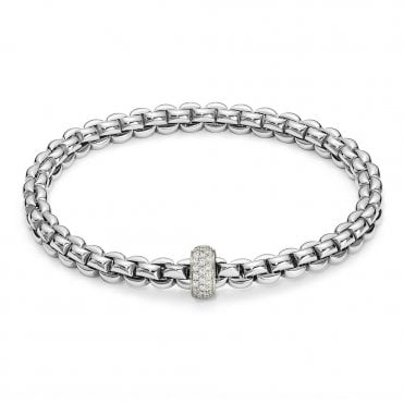 Fope Flex'it Olly 18ct White Gold Bracelet With 18ct White Gold Diamond Set Rondel