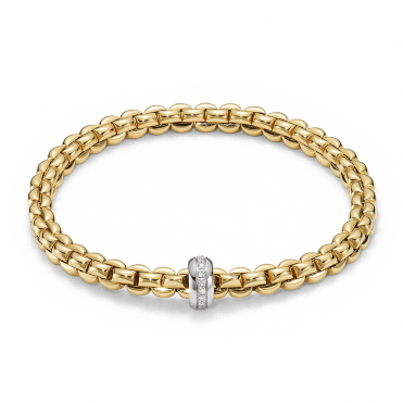 Flex'it Olly 18ct Yellow Gold Bracelet With 18ct White Gold Diamond Set Rondel
