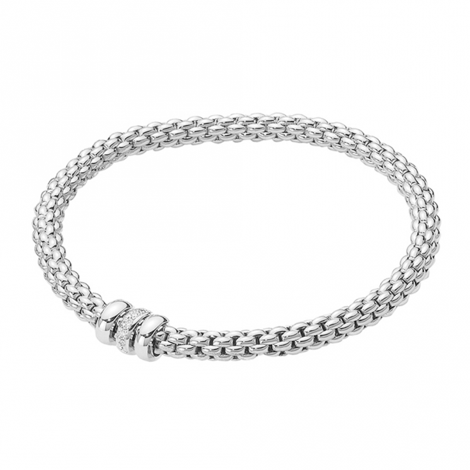 Fope Flex'it SOLO 18ct White Gold Bracelet With Plain & Diamond Set Rondels