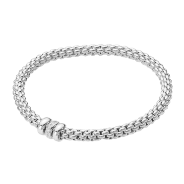 Flex'it SOLO 18ct White Gold Bracelet With White Gold Plain & Diamond Set Rondels