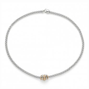 Fope Flex'it SOLO 18ct White Gold Necklace with 18ct Rose and White Gold Plain & 18ct Rose Gold Diamond Set Rondels