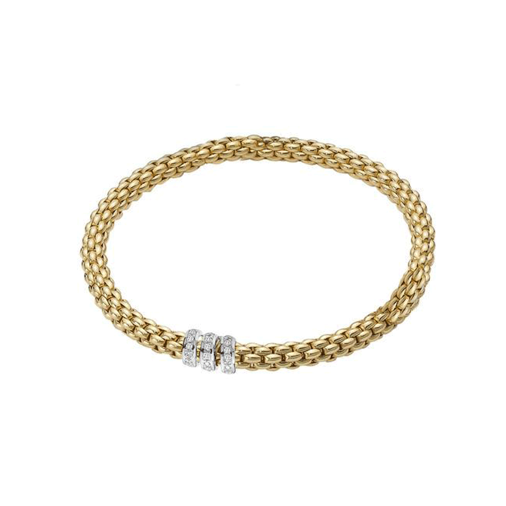 Fope Flex It Solo 18ct Yellow Gold Bracelet With Diamond Rondels