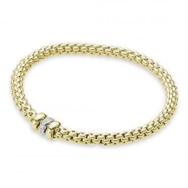 Flex'it SOLO 18ct Yellow Gold Bracelet With Yellow Gold Plain & White Gold Diamond Set Rondels