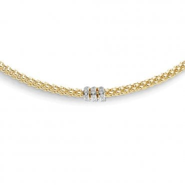 Fope Flex'it Solo 18ct Yellow Gold Necklace With White Gold Diamond Set Rondels