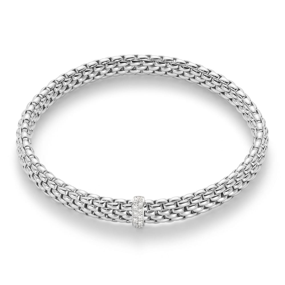 White Gold Cuff Bracelet: Fope Flex'it Vendome 18ct White Gold Bracelet With Diamond