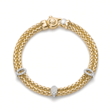 Ines 18ct Yellow Gold Double Row Bracelet With White Gold Diamond Set Rondels