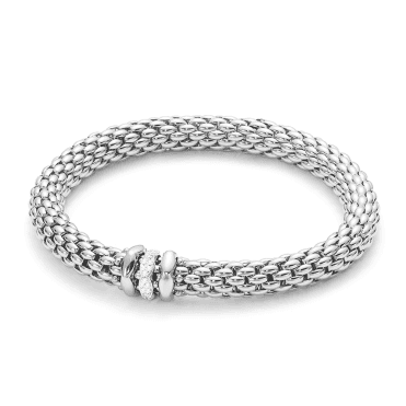 Love Nest 18ct White Gold Bracelet with Plain & Diamond Set Rondels