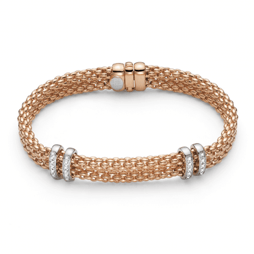 Maori 18ct Rose Gold Double Row Bracelet With 18ct White Gold Diamond Set Rondels