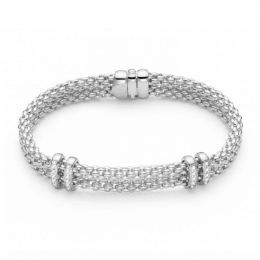 Maori 18ct White Gold Double Row Bracelet With Diamond Set Rondels