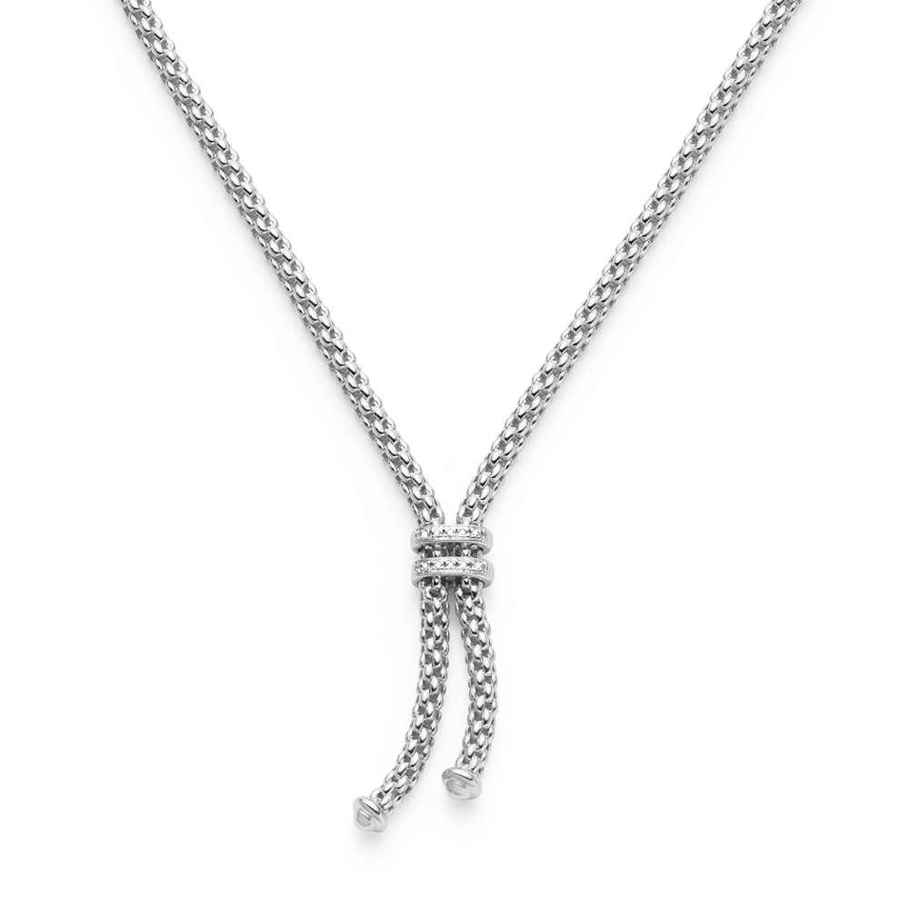 double accent necklace hollow plated white diamond round cut gold rhodium box chain jewellery