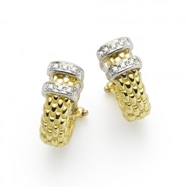 Maori 18ct Yellow Gold Diamond Set Earrings