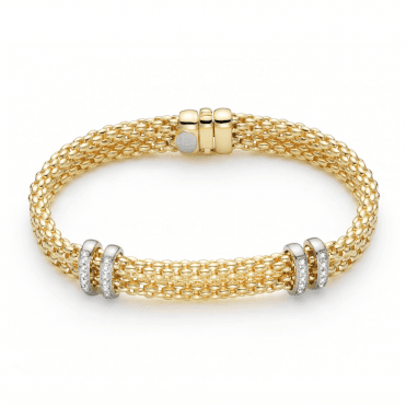 Maori 18ct Yellow Gold Double Row Bracelet With 18ct White Gold Diamond Set Rondels