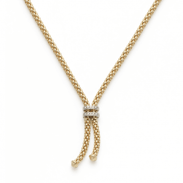 Maori 18ct Yellow Gold Rope Necklace With 18ct White Gold Diamond Set Rondels