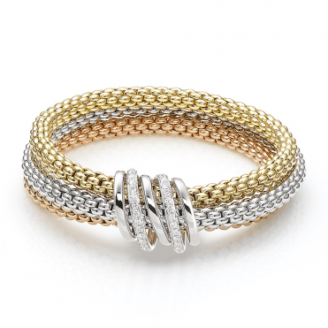Mialuce 18ct Three Colour Gold Bracelet With Diamond And Plain Bars