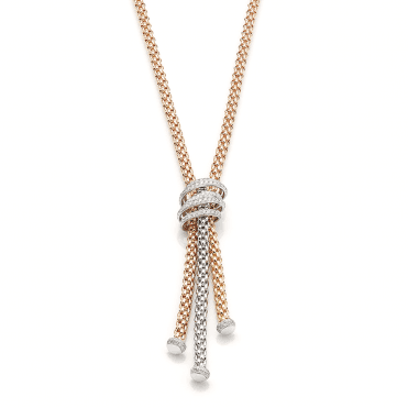 Mialuce 18ct Three Colour Gold Tassel Necklet With Pave Diamond Set Bars