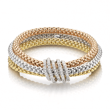 Mialuce 18ct White, Yellow And Rose Gold Three Row Pave Diamond Rondels Bracelet