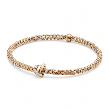 Prima 18ct Rose Gold Flex It Bracelet With 18ct Yellow, White & Rose Gold Polished Rondels