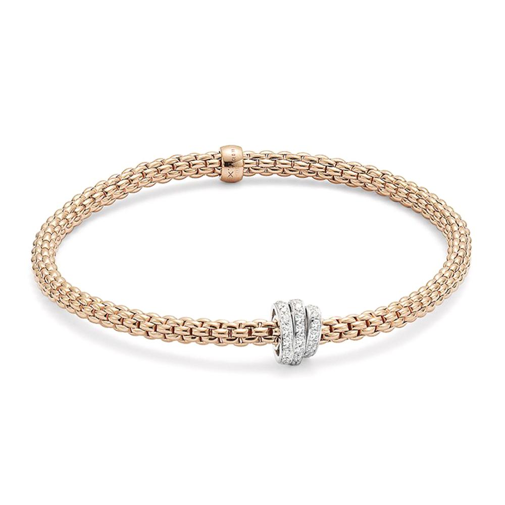 Fope Prima 18ct Rose Gold Flex It Bracelet With Three