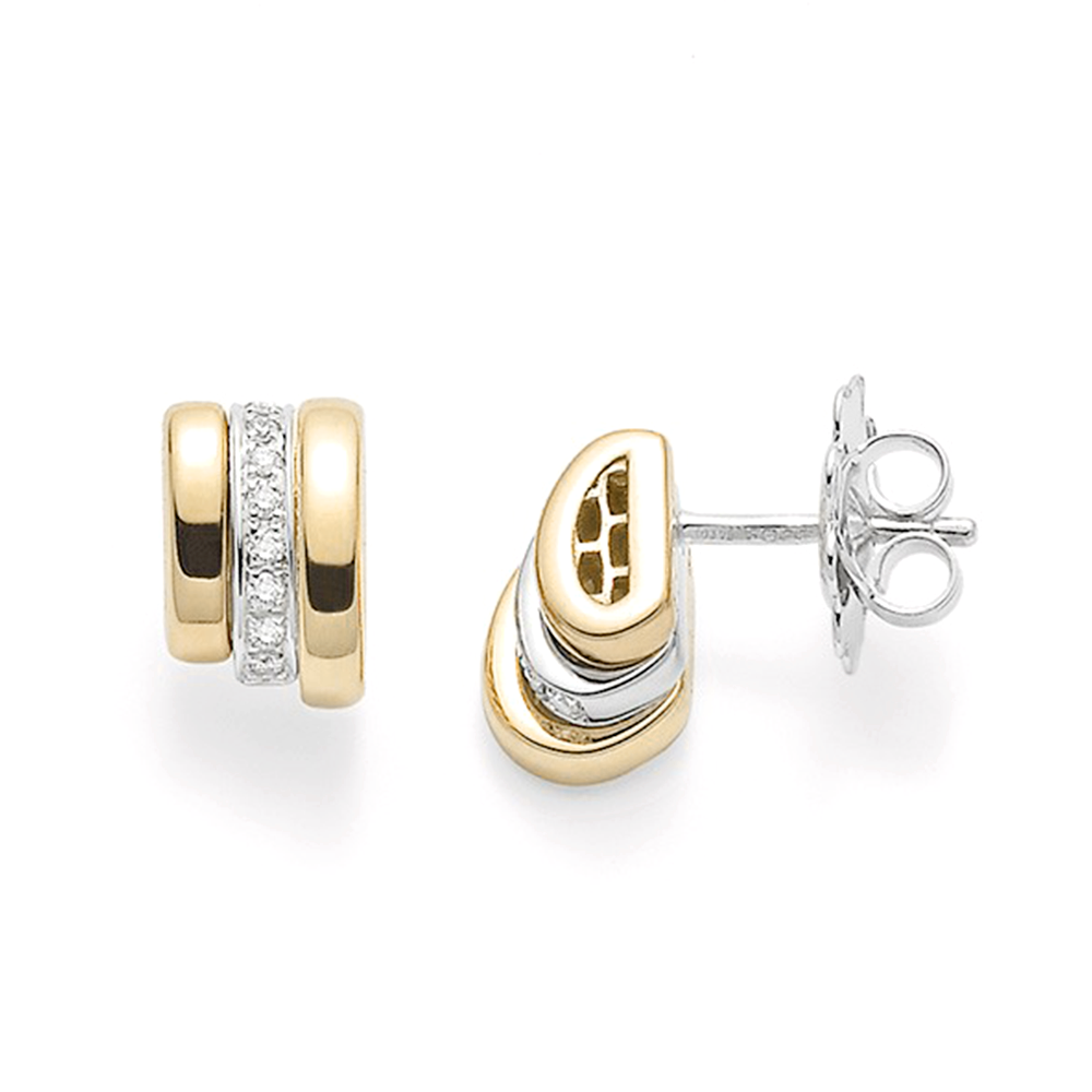 Fope Fope Prima 18ct Yellow And White Gold Stud Earrings with Pave Set  Diamonds 3ca0f69fef0f