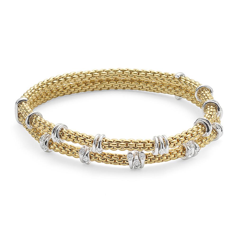 Prima 18ct Yellow Gold Double Row Flex It Bracelet