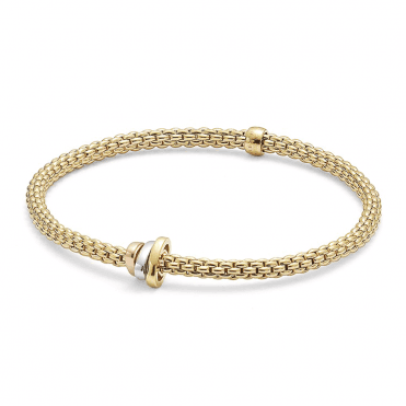 Prima 18ct Yellow Gold Flex It Bracelet With 18ct White, Rose & Yellow Gold Plain Rondels