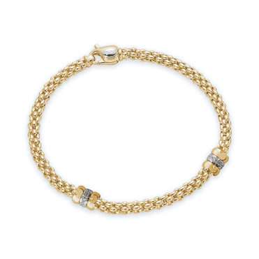 Rigoletto 18ct Yellow Gold Bracelet With Yellow Gold Plain & Diamond Set Rondels