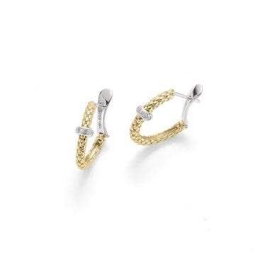 Fope Rigoletto Loop 18ct Yellow Gold Earrings With Diamond Set Rondel
